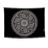 Brandless Tapiz de Mandala Indio Celestial Negro Misterioso Colgante de Pared Hippie Bohemio Decoración del hogar Mandala Patrón Manta