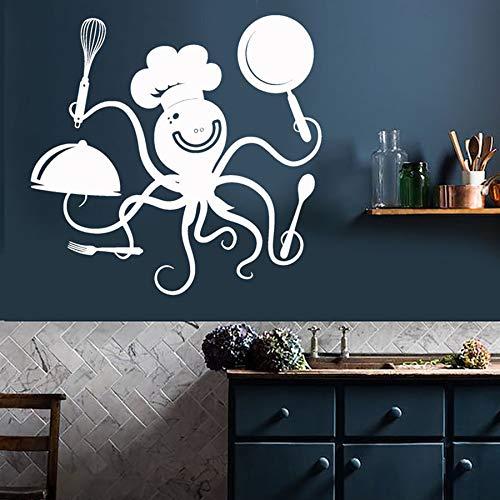 JXMN Wandaufkleber Küche Dekoration lustige Tintenfisch Chef Töpfe und Pfannen Restaurant Cafe Dekoration Vinyl Wandaufkleber kreative Wandbild 85x88cm
