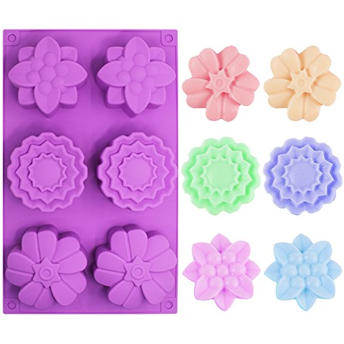 3 PCS Silicone Flower Cake Molds, SENHAI 6-Cavity Chocolate Biscuit Muffine Baking Pans Soap Making Trays - Pink, Blue, Purple