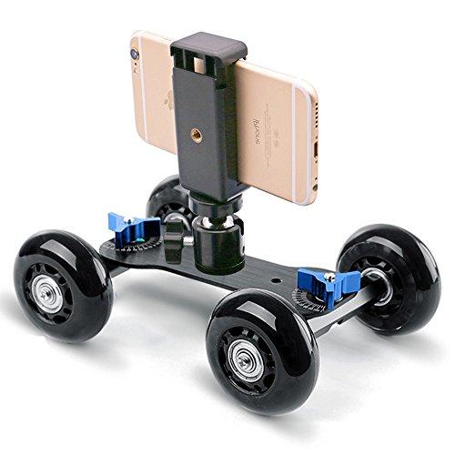 Selens Desktop Camera Skater Dolly DSLR Stabilizer Tabletop Video Slider Rail Track with 360 Degree Swivel Mini Tripod Ball Head for Camera Camcorder Mobile Phone Gopro