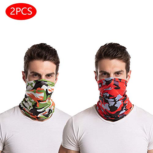 Cooling-Neck-Gaiter Sun UV-Protection Face-Cover Bandana-Balaclava for Men-Women, Reusable Washable Dust Windproof Breathable Cooling Sunscreen for Cycling Fishing Hiking (Camo Red + Camo Orange)