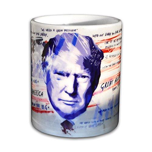 Trump Tasse - Handarbeit Designer Tasse aus brillanten Porzellan Unikat - Tasse, Becher, Kaffeetasse, Teetasse Keramik Tasse, 330ml, Geschenk für Freunde (Tasse rund)