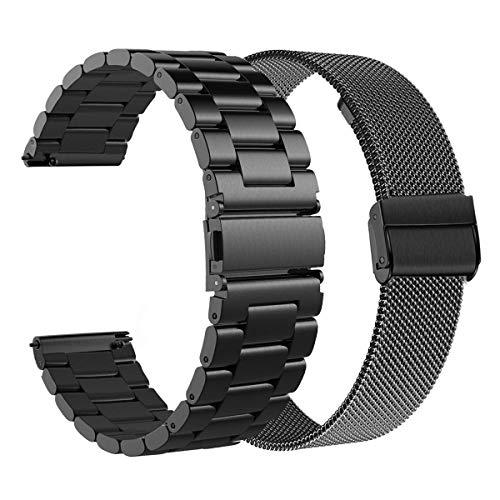 WATORY Ersatz für Samsung Galaxy Watch 46mm/Gear S3 Frontier/Classic Armband, 22mm Solide Edelstahl Uhrenarmband Mesh Metall Armband Business Ersatzband für Huawei Watch GT/Watch GT 2 46mm, Schwarz
