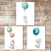 Nursery Wall Art Prints (Set of 3) - Unframed - 8x10 | Bunny Rabbits with Balloons