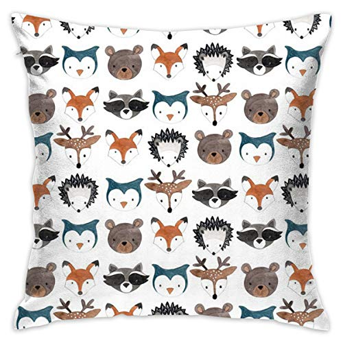 TERPASTRY carré décoratif Housses de Coussin Coton Doux extérieur Woodland créatures Couvre-lit Taie d'oreiller pour canapé Chambre à Coucher Bureau à Domicile de Voiture