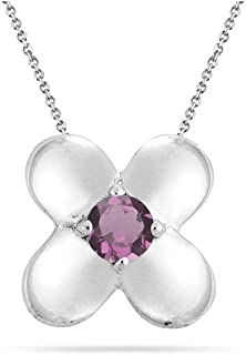 Beautiful flower pendant for the woman you love. The pendant has a fine AA quality round Pink Tourmaline bezel-set in silver. Pink Tourmaline color ranges from pale pink to deep red, can be flawless or have opaque rough crystals.