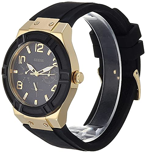 GUESS Women Stainless Steel Quartz Watch with Silicone Strap, Black, 24 (Model: U0571L2)