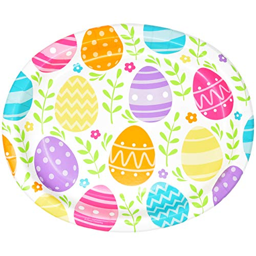 50 Count Easter Oval Paper Plates 10' X 12' Large Disposable Platters Party Goods Set Happy Easter Bright Egg Design Serving Dish Tray for Spring Holiday Dinner Wedding Event Tableware Supplies Decor