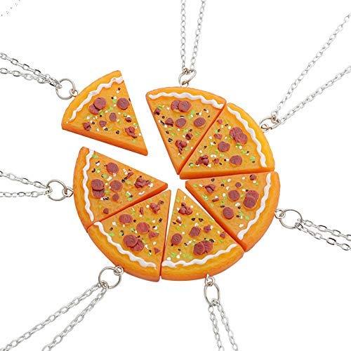 EQLEF Siete Conjuntos de Costura Amistad Pizza Collar de los Amantes Amigo los Amantes del Collar
