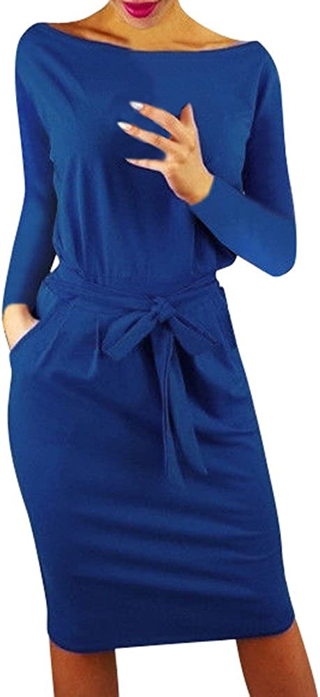 Shakumy Women's 2020 Casual Pencil Dress with Pockets Belt Bodycon Retro Midi Dress Long Sleeve Beach Party Length Dress