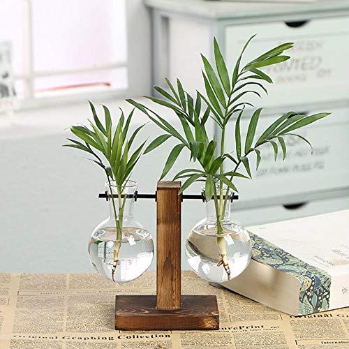 Glazen Desktop Plant Bonsai Bloem Kerstdecoratie Vaas met Houten L/T-vorm Lade Home Decor, Bruin