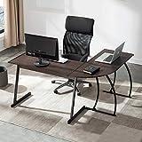 UnaFurni L Shaped Desk, L Corner Computer Gaming Desk for Workstation Home Office, Espresso
