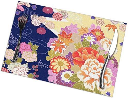 Manteles Individuales con Estampado de Kimono Tradicional de Japón - Juego de manteles Individuales para Mesa de Comedor de 6 Alfombrillas de Cocina antidesliza