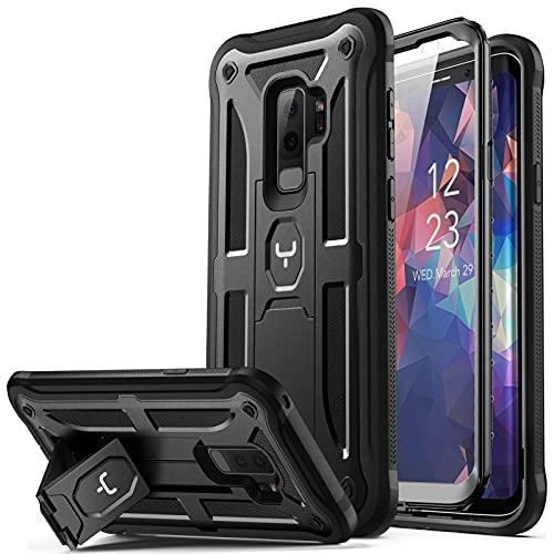 Youmaker Schutzhülle für Galaxy S9+ Plus, strapazierfähig und stoßfest, mit integriertem Displayschutz, für Samsung Galaxy S9 Plus 6,2 Zoll (2018er-Version), schwarz