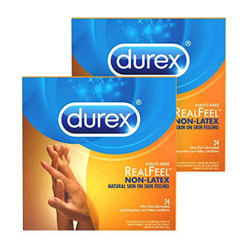 Condoms for Sex, Non Latex Durex Avanti Bare Real Feel Lubricated Condoms, 24 Count, Non Latex Condoms for Men with Natural Skin on Skin Feeling, FSA & HSA Eligible (Pack of 2)