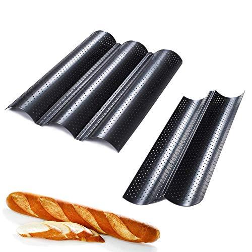 Guangyu French Bread Backblech Baguette,2PACK Antihaftbeschichtung Baguette Baguetteblech,Französisch Brot Backblech Baguette Backblech Wiederverwendbar Kann