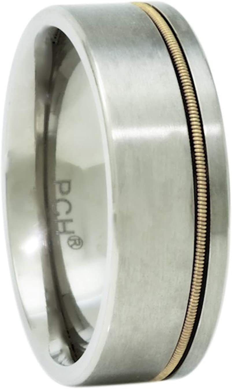 PCH Jewelers Titanium Guitar String Ring, 8mm Comfort fit Wedding Band