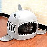 Niche à Chien Forme de Requin Intérieur Panier Transport pour Chien Couverture Lit Confortable pour Chiot Chenil Chaud Doux avec Coussin Amovible Lavable et Fond Imperméable Lit Troglodyte pour Chat