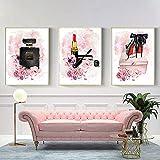 DHLHL 3 Panel Pink Flower Parfüm Poster High Heels