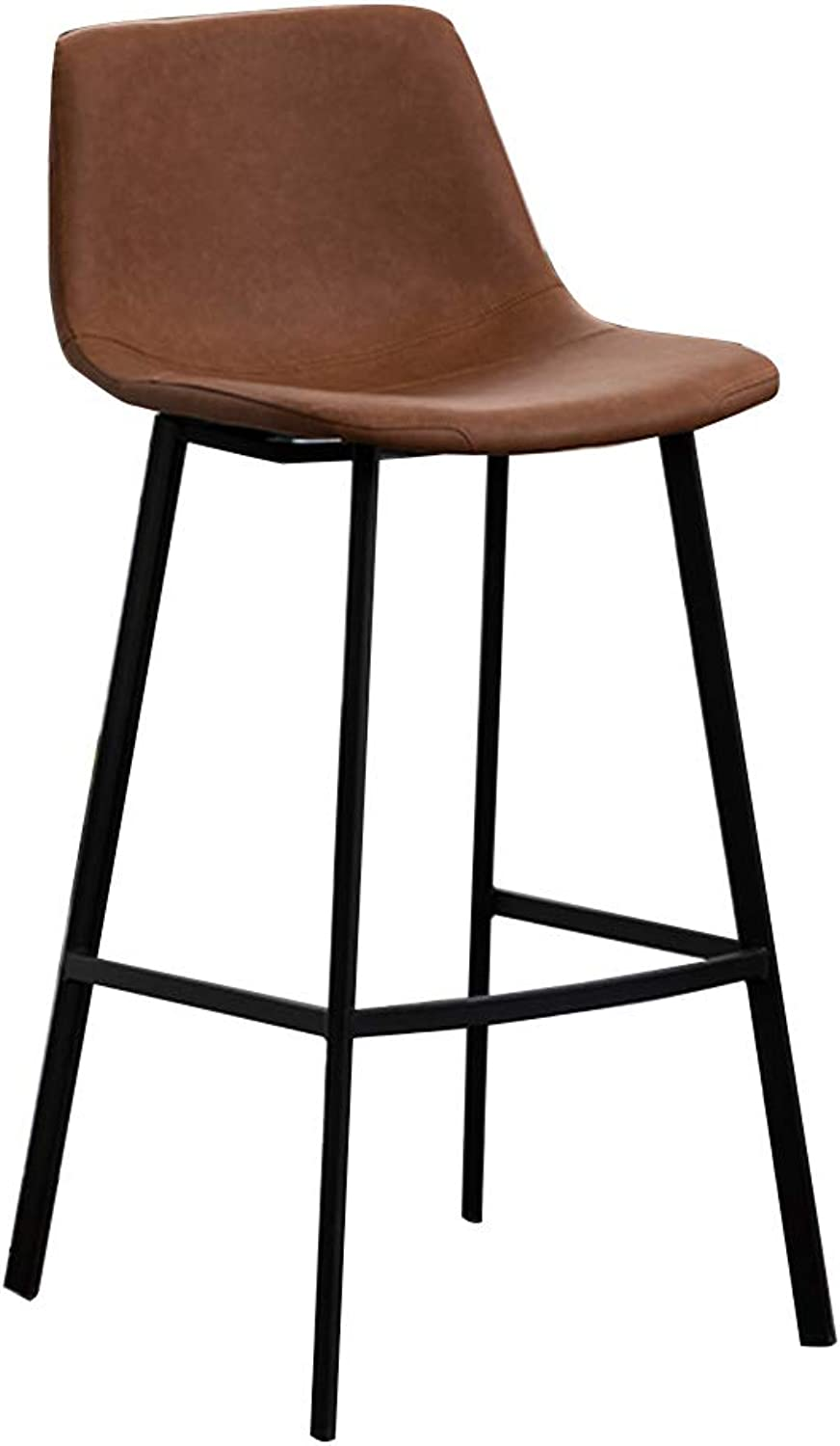 Modern Bar Stools with Back Counter Height Bistro Pub Side Chairs Barstools Footrest   Metal Legs Faux Leather Seat for Home Kitchen, Brown