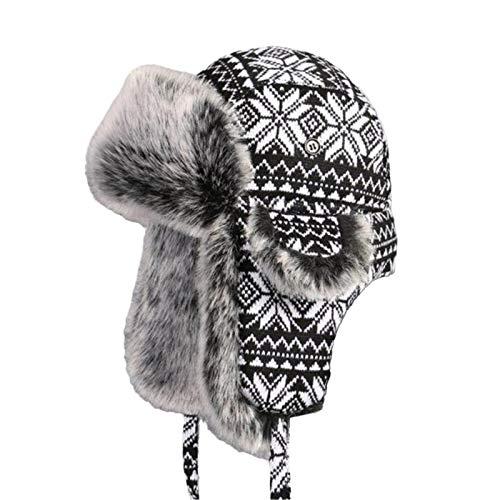 USTZFTBCL Sombrero de piel ruso Ushanka Bomber sombreros hombre mujer orejeras invierno grueso tejido al aire libre sombrero de trampero black white 56CM
