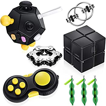 8 Pieces Fidget Toy Set Include 12 Side Fidget Toy Cube Six Roller Chain Flippy Chain Cam Fidget Controller Pad Fidget Green Bean and Infinity Cube for Anxiety Stress Relief ADHD ADD OCD Autism