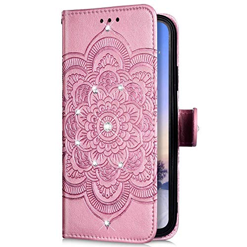 Uposao Kompatibel mit Samsung Galaxy A21s Hülle Leder Tasche Handyhülle Mandala Blumen Diamant Bling Glitzer Strass Schutzhülle Flip Wallet Case Klapphülle Magnet Kartenfächer,Rose Gold
