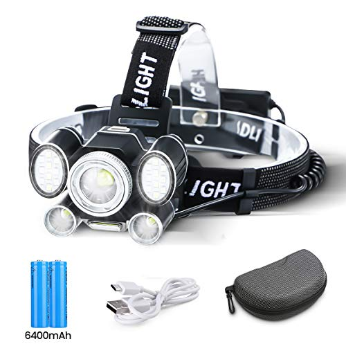 OUTERDO 24 LED Rechargeable Headlamp,9 Light Modes Head Torch with Red/Blue light/45° Reading Light,Zoomable Waterproof Headlamp with USB Cable 2 Batteries for Camping Fishing,CarRepair,Outdoor