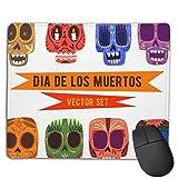 N\A Mousepad Cute Skulls Set Mexican Day Dead Base de Goma Antideslizante Borde de Costura Alfombrilla de ratón para Juegos u Trabajo de Oficina