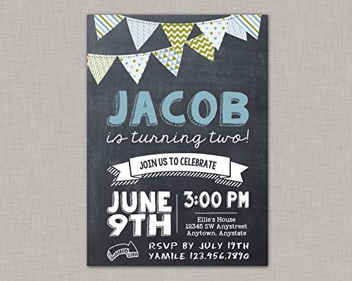 Evan332Eddie Geburtstagseinladung für Jungen, Holz, Einladung, Wimpelkette, Einladung, bedruckbare Einladung