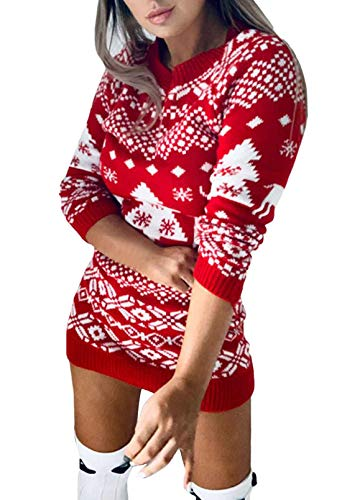 Women's Christmas Reindeer Snowflakes Cute Sweater Pullover Christmas Trees Knit Mini Dress Red M