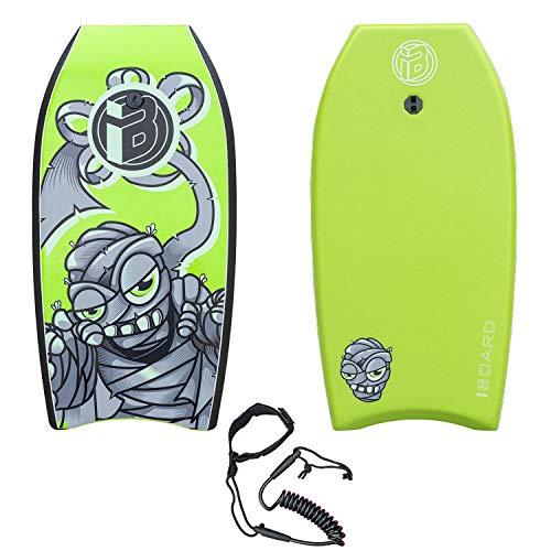"""iBOARD Body Board,41"""" pulgadas verde ligero Bodyboard con cubierta EPS, correa premium y correa de muñeca para niños y adultos"""