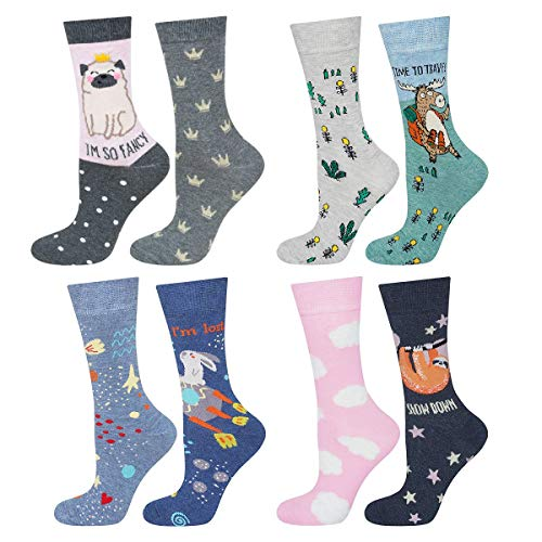soxo 8 Paar Damen Socken mit Muster | Mehrfarbige, Bunte Socken für Jede Stimmung | Schöne Frauen Socken mit Lustigen Geschichten, Multicolour, 35 - 40 EU