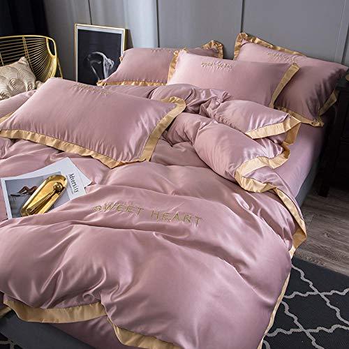 zlzty Super King Duvet Cover Set,Washed Silk Four-Piece Silk Bed Linen Bedding,Single Duvet Cover,King Size Christmas Duvet Cover Set@2.0 Sheets and 4 Pieces_H