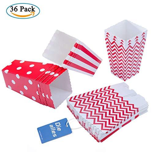 Diealles 36PCS Mini Caja de Fiesta de Palomitas Contenedor de Dulces para Los Bocados del Partido, Los Dulces, Las Palomitas y Los Regalos - Rojo
