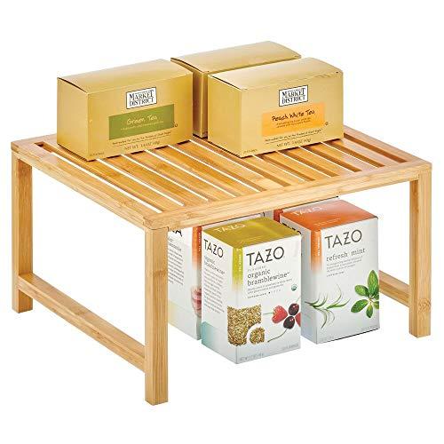 mDesign Organizer cucina da appoggio – Ripiano portaoggetti impilabile in bambù con gambe in metallo – Scaffale universale cucina, per piani lavoro, pensili e dispense – naturale