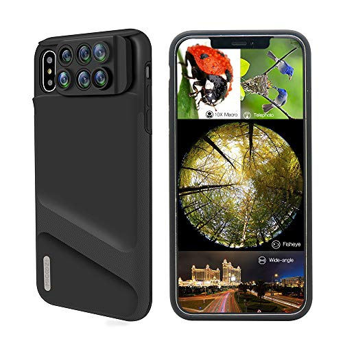 iPhone Xs Lens, 6 in 1 Dual Phone Camera Lens Kit [ 180 Degree Fisheye, 0.65X Super Wide Angle, 10X/20X Macro, 2X Zoom Telescope Lens ] with Phone Protective Case Cover for Apple iPhone Xs