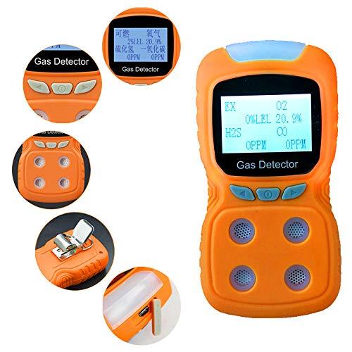 Detector portátil de gas combustible 4 en 1 O2 + CO + H2S + EX Bomba de muestra de oxígeno Analizador de gas oxígeno Monitor de dióxido de carbono