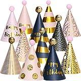 Birthday Party Hats - Fun Celebration Kit of 12 Gold Happy Birthday Cone Party Hats for Kids Birthday Party - Birthday Party Supplies and Decorations