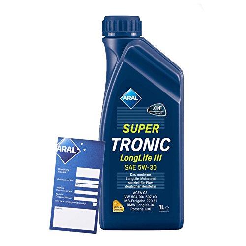 1 L Liter ARAL SuperTronic Longlife III 3 5W-30 Motoröl inkl. Ölwechselanhänger