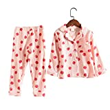 ACESTAR Toddler Baby Girl Pajama Set, Boys Long Sleeve 100% Cotton Sleepwear 2 Piece Pjs Set for Kid - Button Down Loungewear (Pink Strawberry, 5T)