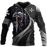 Caballero Templario Armadura Streetwear Harajuku Pullover Divertido Estampado 3D Cremallera/Sudaderas/Sudaderas/Chaqueta Hoodies S