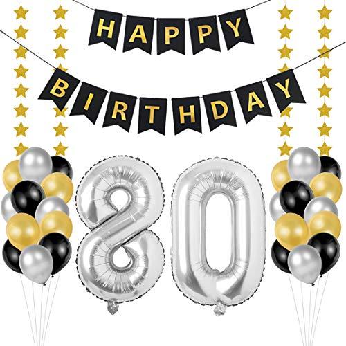 Globos 80 Cumpleaños, decoracion 80 años, Happy Birthday Bandera Feliz Cumpleaños 80 Años, Número 80 Globos de Papel Plata para Hombres y Mujeres Adultos Oro Negro Decoración de Fiesta