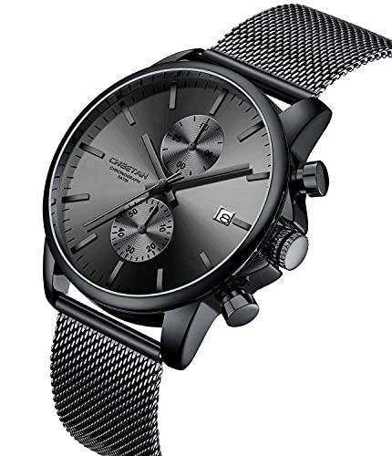 Orologi da uomo moda sport al quarzo analogico nero maglia acciaio inossidabile impermeabile cronografo orologio da polso automatico data (Grigio nero)