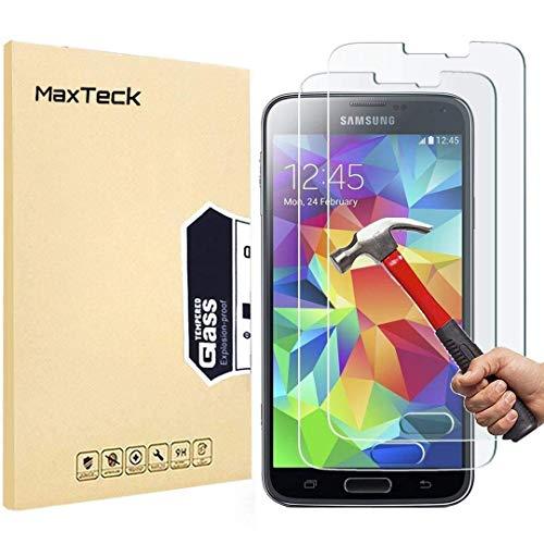 MaxTeck [3 Pièces] Verre Trempé Samsung Galaxy S5, Film Protection en Verre trempé écran Protecteur Vitre- Anti Rayures - sans Bulles d'air -Ultra Résistant Dureté 9H pour Samsung Galaxy S5
