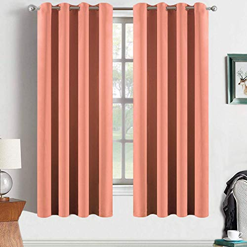 Yakamok Blackout Curtains Solid Grommet Top Window Curtains for Girls' Bedroom/Living Room(52x63 Inch, Coral Orange, 2 Panels)