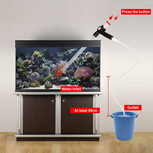AMIGOB Automatische Mulmsauger Aquarium Reinigenwerkzeug, Wasserwechsler mit Glassabstreicher/207cm Schlauch, Wassertrömung Einstellbar