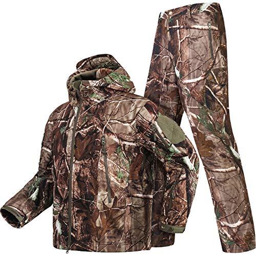 YoMont Completo Uomo Tattico Camouflage Suit 2 Pezzi Set Outdoor Caccia Trekking Campeggio Combat Militare Giacche da Trekking Impermeabili + Pantaloni Mimetico Abbigliamento 3XL