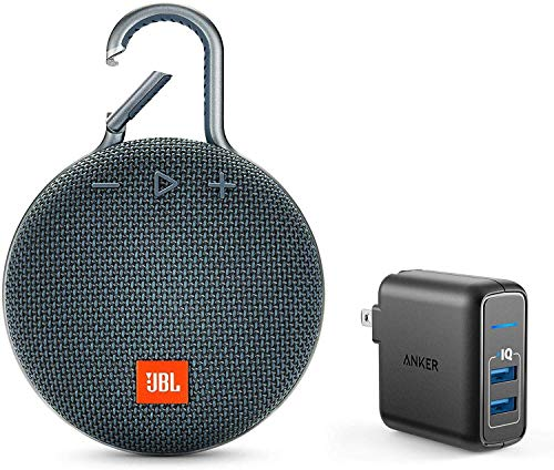 JBL Clip 3 Portable Bluetooth Wireless Speaker Bundle with Dual Port 24W USB Travel Wall Charger - Blue