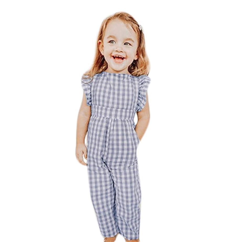 コミットメント歯車平らな幼児子供女の子グレーのチェック柄フリルジャンプスーツプリンセスジャンプスーツかわいいカジュアルジャンプスーツ